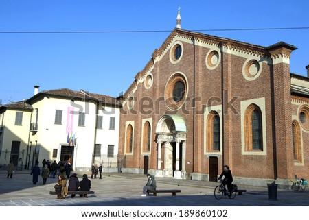 MILAN, ITALY-FEBRUARY 21, 2012: the church os Santa Maria dele Grazie, home of the Leonardo da Vinci's masterpiece the Last Supper, in milan. - stock photo