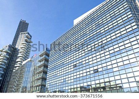 MILAN, ITALY-FEBRUARY-04, 2016: the modern glass buildings office, in Milan.