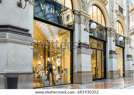 Milan, Italy - February 17, 2017: Versace shop at the Gallery Vittorio Emanuele II (Piazza Duomo) in Milan center. Made in Italy. Symbol and concept of luxury, shopping, wealth and elegance