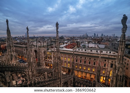 Milan, Italy: gothic roof of Cathedral in sunset - stock photo