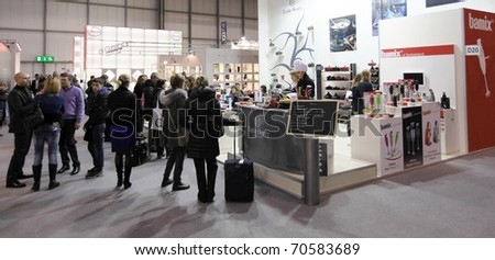 MILAN, ITALY - JANUARY 28: Close-up of design and interior decoration products stand at Macef, International Home Show Exhibition January 28, 2011 in Milan, Italy. - stock photo