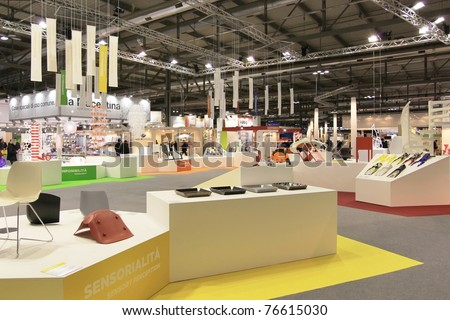 MILAN, ITALY - JANUARY 28: Close-up of design and interior decoration products stand at Macef, International Home Show Exhibition on January 28, 2011 in Milan, Italy.