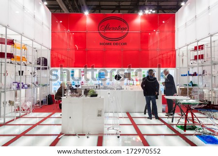MILAN, ITALY - JANUARY 20: People visit HOMI, home international show and point of reference for all those in the sector of interior design on JANUARY 20, 2014 in Milan.