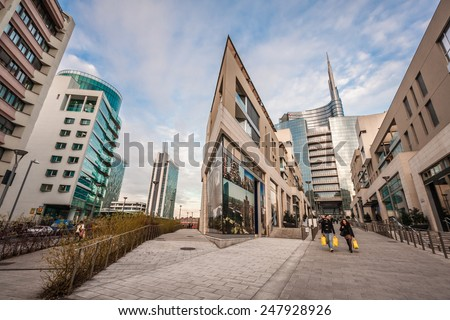 MILAN, ITALY - JANUARY 26, 2015: View of the new modern buildings and Unicredit tower in Porta Nuova Area. - stock photo