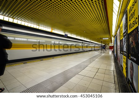 MILAN, ITALY-JULY 4, 2016: Milan station interior. With 318 million annual passengers, Milan Metro is no 32 worldwide.