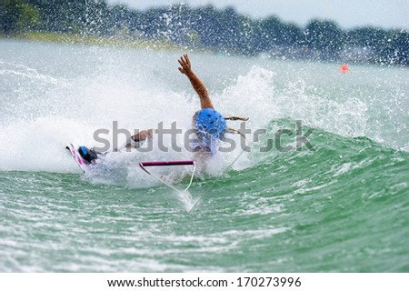 MILAN, ITALY - JULY 14: World Wakeboard Championship at the Idroscalo lake in Milan July 14, 2011. Charlotte Bryant (GBR) during the Junior Women Quarter Finals. - stock photo