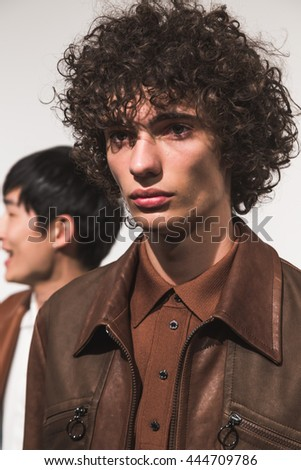 MILAN, ITALY - JUNE 18: Beautiful model poses in the backstage just before Neil Barrett SS 17 show during Milan Men's Fashion Week on JUNE 18, 2016 in Milan. - stock photo