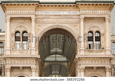 Milan, Italy- June 13, 2016. Detail of the amazing glass and iron roof of the Galleria Vittorio Emanuele II, one of the  oldest shopping malls in the world. - stock photo