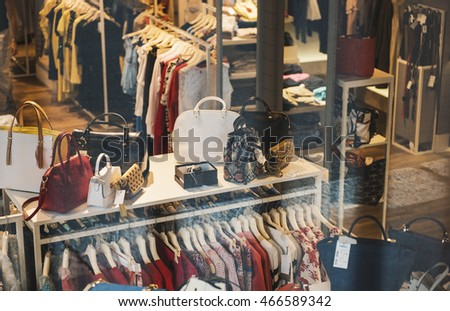 Milan, Italy - June 28,2016: Interior of a clothing shop in Milan downtown.