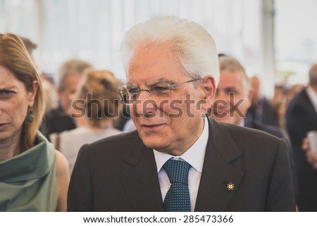 MILAN, ITALY - JUNE 5: Italian President Sergio Mattarella visits Expo, universal exposition on the theme of food on JUNE 5, 2015 in Milan.