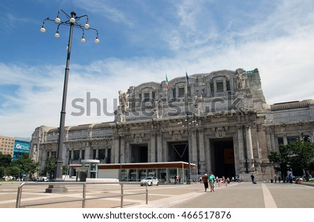 MILAN, ITALY - JUNE 27, 2016: people in front of the Central station Facade in Piazza Duca D Aosta