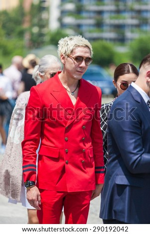 Milan, Italy - 22 June 2015 - the guest  attending the GUCCI fashion show on Milan Men's Fashion Week Spring/Summer 2016