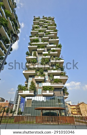 "MILAN, ITALY- JUNE 11, 2015: Vertical Forest apartment building in the Porta Nuova area of Milano, Lombardy, Italy also called ""Bosco Verticale"" and winner for 2014 of the International Highrise Award - stock photo"