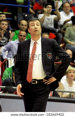 MILAN, ITALY - MARCH 16: Coach Luca Banchi in action during the regular season between Armani Jeans Milano and Acea Roma  at the Dutch Forum in Milan, March 16, 2014 in Milan, Italy.