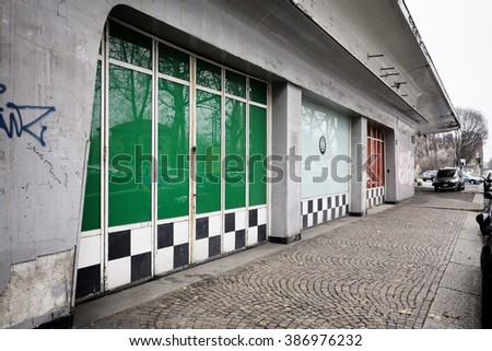 MILAN, ITALY - MARCH 6, 2016: Garage Italia Customs, the new company of Lapo Elkann, will soon move to an historic setting for the automotive industry: the Agip petrol station of Piazzale Accursio - stock photo