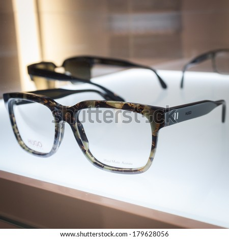 MILAN, ITALY - MARCH 1: Hugo Boss glasses on display at Mido, international exhibition for optics, optometry and ophthalmology on MARCH 1, 2014 in Milan.