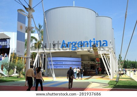 MILAN, ITALY - May 11: Argentina pavilion at Expo, universal exposition on the theme of food on  May 11, 2015 in Milan, Italy.  - stock photo