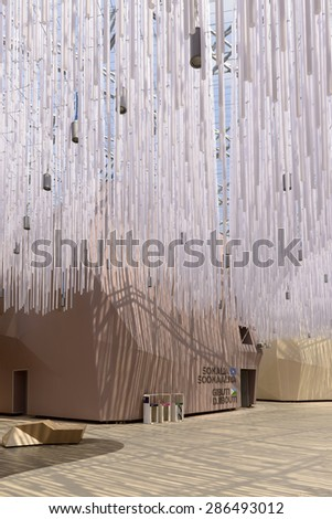 MILAN, ITALY - May 7: decoration at Arid Zones Cluster 06, EXPO 2015 ,detail of  decoration on passage ceiling at collective pavilion of Arid Zones , shot  on may 7 2015  Milan, Italy  - stock photo