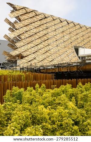 MILAN, ITALY - May 7: detail of China pavilion emerging from greenery , shot  on may 7 2015  Milan, Italy  - stock photo
