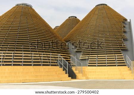 MILAN, ITALY - May 7: detail of wooden domes at Expo Centre building , shot  on may 7 2015  Milan, Italy - stock photo
