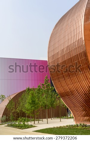 MILAN, ITALY - May 7: foreshortening of copper covered outside of Hungarian pavilion  , shot  on may 7 2015  Milan, Italy  - stock photo