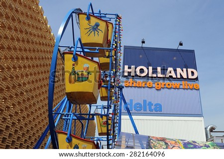 MILAN, ITALY - May 11: Holland pavilion at Expo, universal exposition on the theme of food on  May 11, 2015 in Milan, Italy.   - stock photo