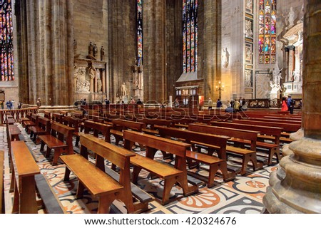 MILAN, ITALY - MAY 2, 2016: Interior of the  Duomo di Milano (Dome of Milan), Milan, Italy. Metropolitan Cathedral-Basilica of the Nativity of Saint Mary