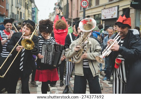 MILAN, ITALY - MAY 1: musicians manifest no expo held in Milan May 1, 2015. musicians protest against expo 2015 in Milan began that day in Rho Pero district