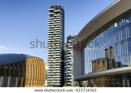 MILAN, ITALY - MAY 15, 2016: new Porta Nuova district skyscraper and commercial buildings from Gae Aulenti's square, in Milan. - stock photo