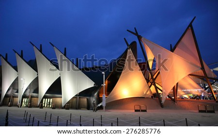 MILAN, ITALY - MAY 3, 2015: Night view of modern architecture of Kuwait exhibition hall at Milan Expo on May 3, 2015 in Milan, Italy. - stock photo