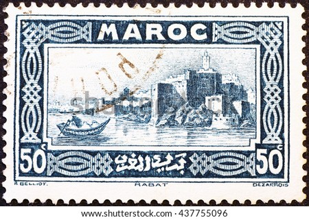 Milan, Italy - May 17, 2014: Old view of Rabat, Morocco, on vintage postage stamp