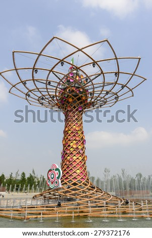 MILAN, ITALY - May 7: Tree of Life , view of the fair symbol structure  , shot  on may 7 2015  Milan, Italy  - stock photo