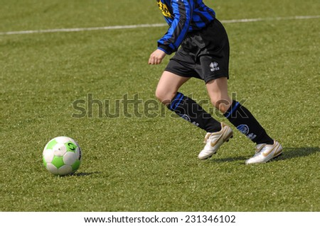 MILAN, ITALY-MAY 01, 2008: youth soccer match, in Milan.