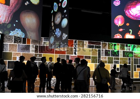 MILAN, ITALY - May 11: Zero pavilion at Expo, universal exposition on the theme of food on  May 11, 2015 in Milan, Italy.   - stock photo