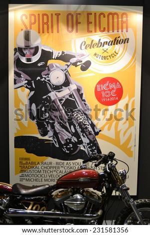MILAN, ITALY - NOV 8: Brand of  EICMA, 72 th International Motorcycle Exhibition November 8, 2014 in Milan, Italy. - stock photo