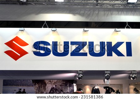 MILAN, ITALY - NOV 8: Brand Suzuki at EICMA, 72 th International Motorcycle Exhibition November 8, 2014 in Milan, Italy. - stock photo