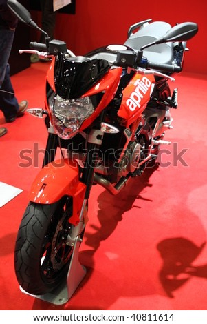 MILAN, ITALY - NOV. 11: Close-up of Aprila motorcycle at EICMA, 67th International Motorcycle Exhibition November 11, 2009 in Milan, Italy.