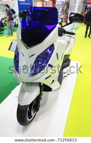 MILAN, ITALY - NOV. 03: Details of  motorcycle in exhibition at EICMA, 68th International Motorcycle Exhibition November 03, 2010 in Milan, Italy.
