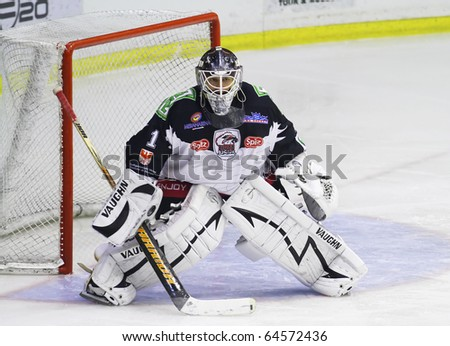MILAN, ITALY - NOV 02: Rene Baur of HC Merano during a game at Agora  Arena on November 2, 2010, in Milan - stock photo