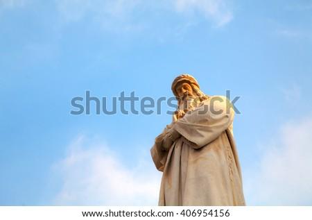 MILAN, ITALY - NOVEMBER 25: Leonardo Da Vinci statue at Piazza della Scala on November 25, 2015 in Milan, Italy - stock photo