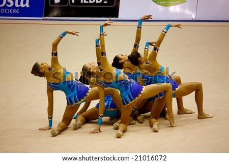 MILAN, ITALY - 22, NOVEMBER 2008: Milan Gymnastics Grand Prix in Milan, Italy, on the 22nd November, 2008. Competitions for men's and women's artistic gymnastics and rhythmic gymnastics. - stock photo