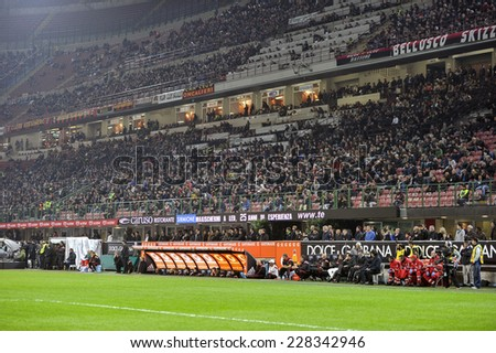 MILAN, ITALY-NOVEMBER 02, 2014: soccer stadium fans during the italian serie A soccer match AC Milan vs Palermo, at the san siro stadium, in Milan.