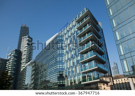 MILAN, ITALY - NOVEMBER 6, 2015: Solaria Tower designed by the Arquitectonica and the Diamantini Building in the Porta Nuova district in Milan, Lombardy, Italy. - stock photo