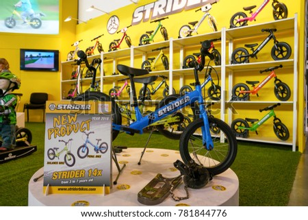 MILAN, ITALY - NOVEMBER 11, 2017: Strider balance bicycles on display during the EICMA 2017 - 75th International Motorcycle Exhibition.