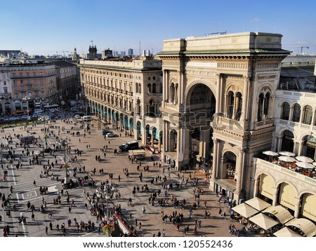 MILAN, ITALY - NOVEMBER 2: View from cathedral's roof of Galleria Vittorio Emanuele II in Milan on November 2, 2012. Built in 1875 this gallery is one of the most popular shopping areas in Milan. - stock photo