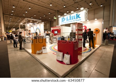 MILAN, ITALY - OCT 21: D-link stand during SMAU 2010, International Exhibition of Information and Communication Technology on October 21, 2010 in Milan, Italy. - stock photo