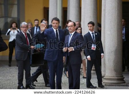 MILAN, ITALY - Oct 17, 2014: French President Francois Hollande and Prime Minister of Italy, Matteo Renzi, during a meeting on the ASEM summit of European and Asian leaders in Milan - stock photo