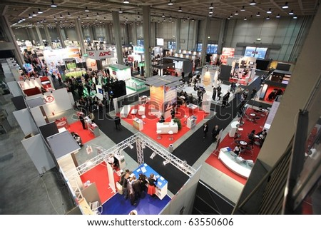 MILAN, ITALY - OCT. 20: Panoramic view of SMAU, international fair of business intelligence and information technology October 20, 2010 in Milan, Italy.