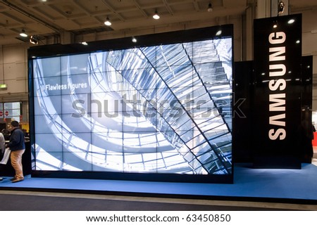 MILAN, ITALY - OCT 21: Samsung stand at SMAU 2010, International Exhibition of Information and Communication Technology on October 21, 2010 in Milan, Italy. - stock photo