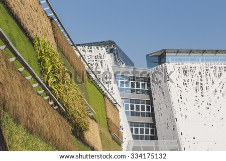MILAN, ITALY - OCTOBER 31: Architectural detail at Expo, universal exposition on the theme of food on OCTOBER 31, 2015 in Milan. - stock photo